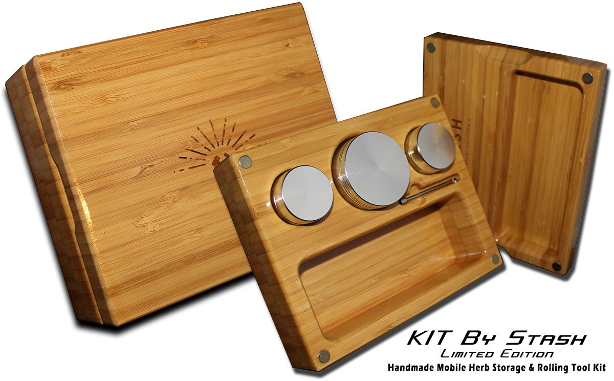 KIT by Stash - Compact, Mobile, Strong All-in-One Bamboo Smoking Kit - #1 Best 2 inch 4-layer Herb/Spice Grinder, 2 Storage Containers & Dabber All Included. Roll & Enjoy Life Anywhere