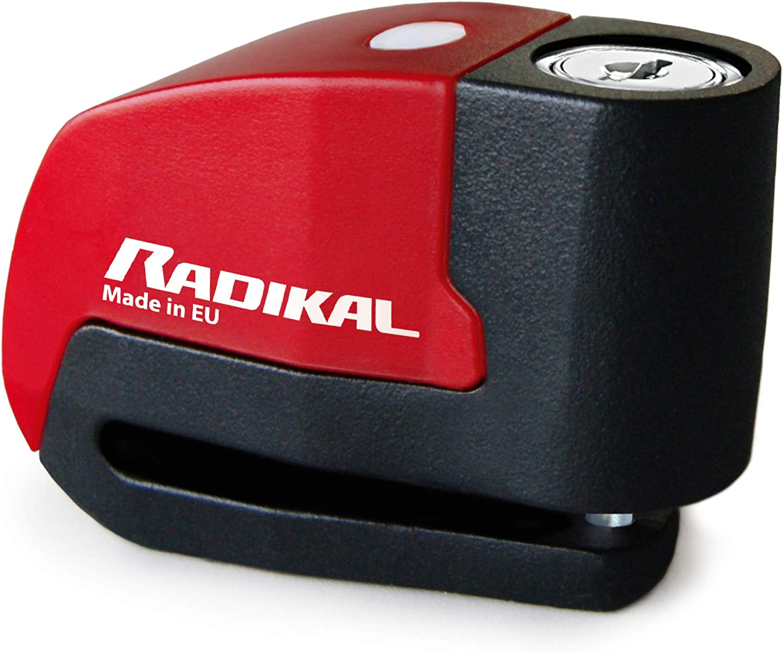 RADIKAL RK72120L Antivol Moto Double Fonction 2 en 1 cha/îne Ruban 120 cm et Mini U 14 mm Bloc Disque