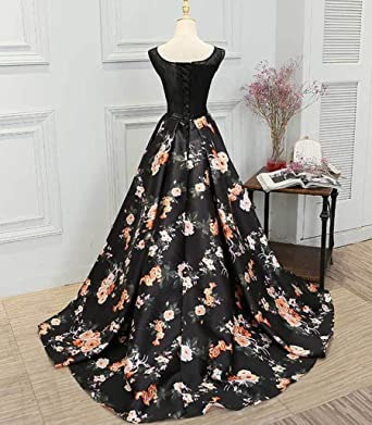 WDH Dress Amazing Print Floral Prom Dress Lace Beads Long Evening Dress 8