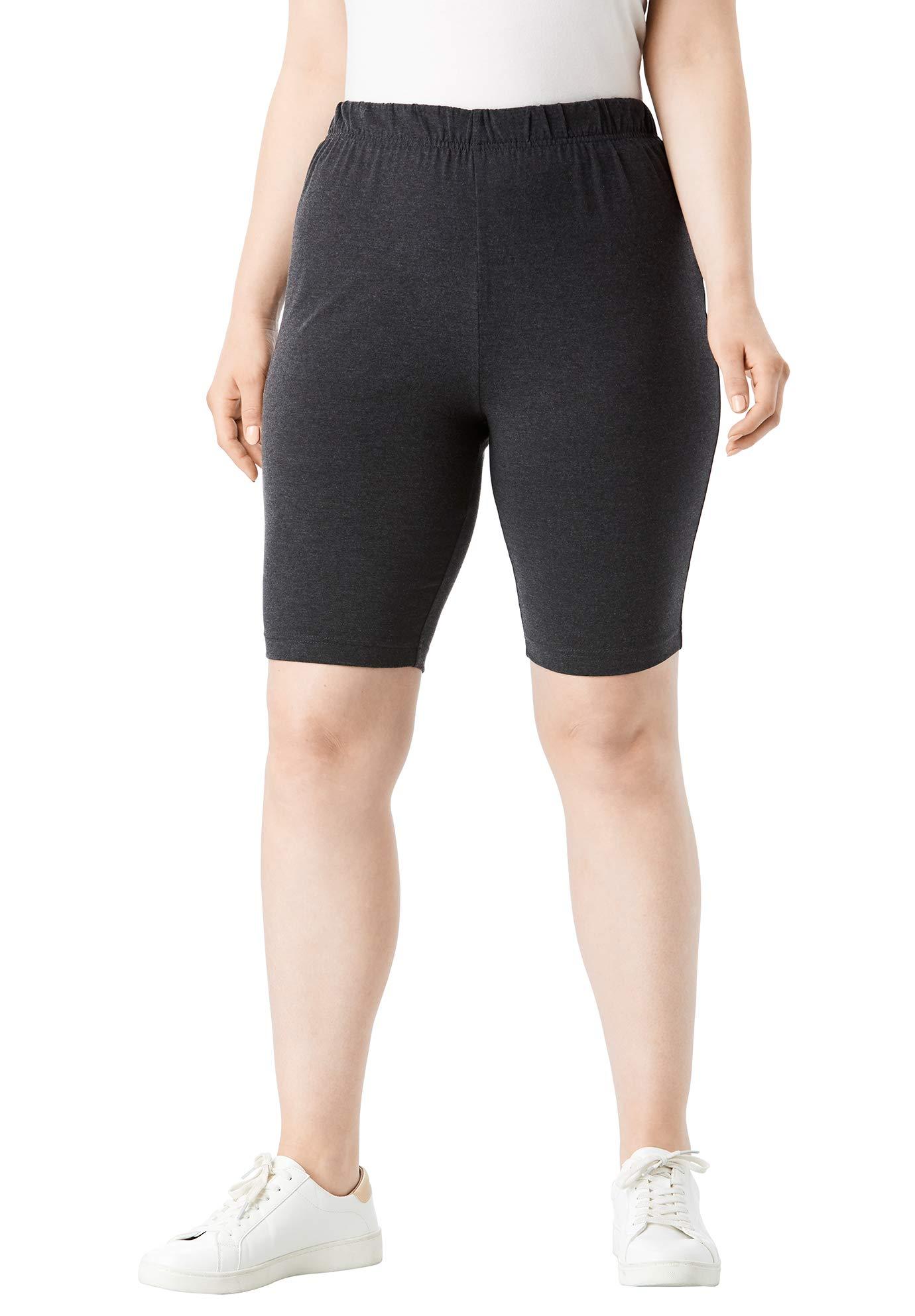 Roamans Women's Plus Size Essential Stretch Bike Short - Heather Charcoal, M by Roamans