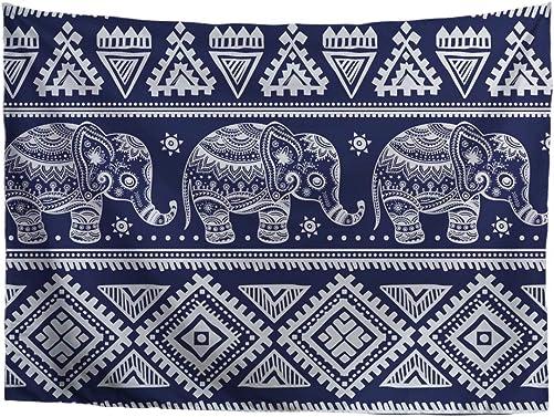 INSTANTARTS Elephant Tapestry Wall Hanging Hippie Bohemian Lightweight Yoga Shawl Mat Beach Towel 108.27 x 90.55