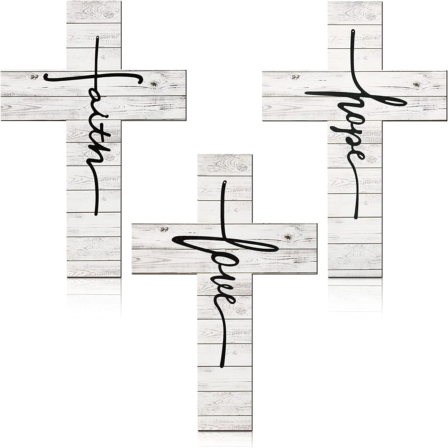 3 Pieces Faith Love Hope Cross Sign Wood Wall Hanging Cross Rustic Cross Wall Decor Vintage Cross Wall Art Religious Love Cross Wall Decor Farmhouse Home Hanging Decor for Home Decoration, 12 x 8 Inch