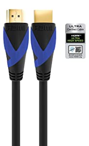 U9 8K Certified Ultra High Speed HDMI Cable v2.1 48Gbps 8K60Hz 4K120Hz eARC HDR ALLM VRR QFT QMS FRL PS5 Xbox One X/S Nvidia Shield Pro Roku Ultra LG Sony Samsung Apple TV | 2m / 6.6 feet | U9-8KP-6F