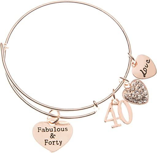 40th Birthday Gifts For Women 40th Birthday Rose Gold Expandable Charm Bracelet 40th Birthday Ideas Gift For Her Amazon Ca Jewelry
