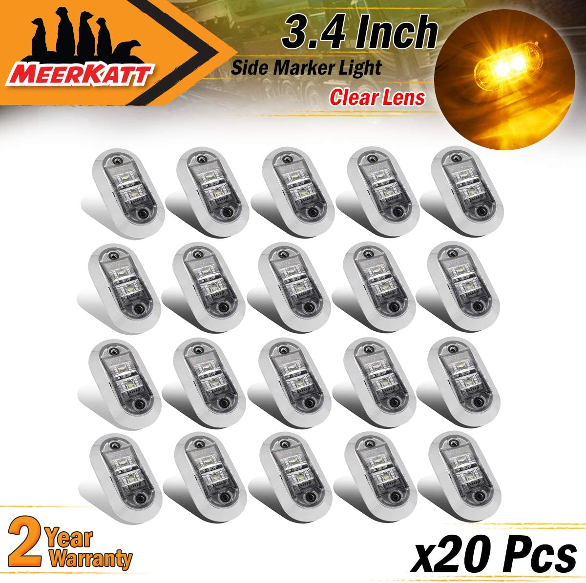 2.5 Inch Oval Clear Lens 10 Amber /& 10 Red Oval 2 LEDs Surface Mount SMD Extra Bright Side Marker Clearance Lights Trailer Jeep Van Truck SUV Bus RV w//Chrome 10-30V DC LM-CHS Pack of 20 Meerkatt