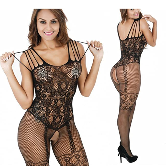33b4c4f21 Image Unavailable. Image not available for. Color  Women s Black lace Sexy  Hollow Crotchless one-Piece Jumpsuit Lingerie Opening Body Stockings