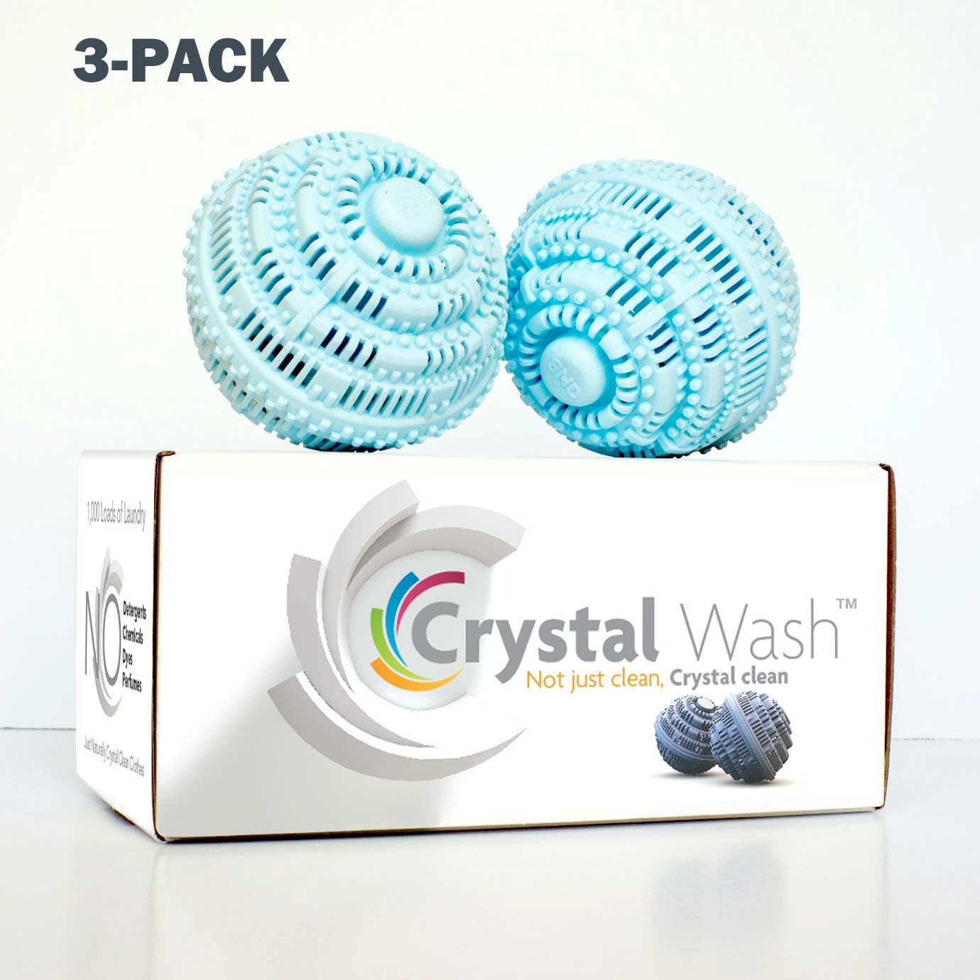 Crystal Wash - Wash Balls - Laundry Detergent Alternative - All Natural (3 pack - $157.99 = $22 Savings)