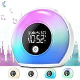 Uplayteck Night Light Alarm Clock for Kids - Wake Up Alarm Clock Bluetooth Speaker Night Light for Girl - Tap to Change…