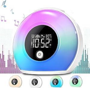 Uplayteck Night Light Alarm Clock for Kids - Wake Up Alarm Clock Bluetooth Speaker Night Light for Girl - Tap to Change Color Lights - Digital LED Clock