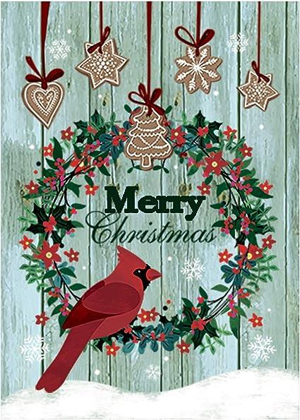 Amazon Com Morigins Merry Christmas Wreath Yard Flag Double Sided Decorative Cardinals Winter House Flag 28x40 Inch Garden Outdoor
