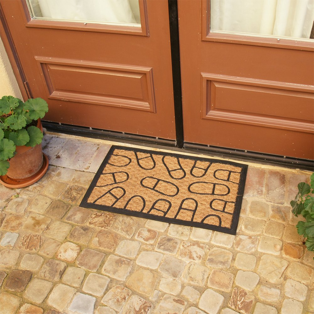 18 x 30 Outdoor Coco Doormat Rubber-Cal 10-102-508 Coming and Going Decorative Rubber Entry Mat