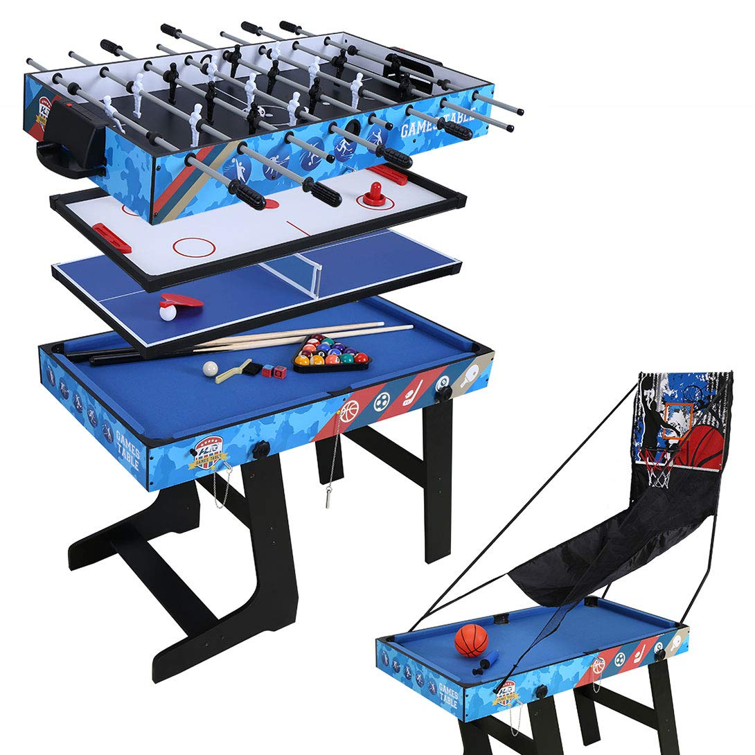 4ft Multi-Function 5 in 1 Combo Game Table- Hockey Table, Foosball Table, Pool Table, Table Tennis Table, Basketball Table by Funmall