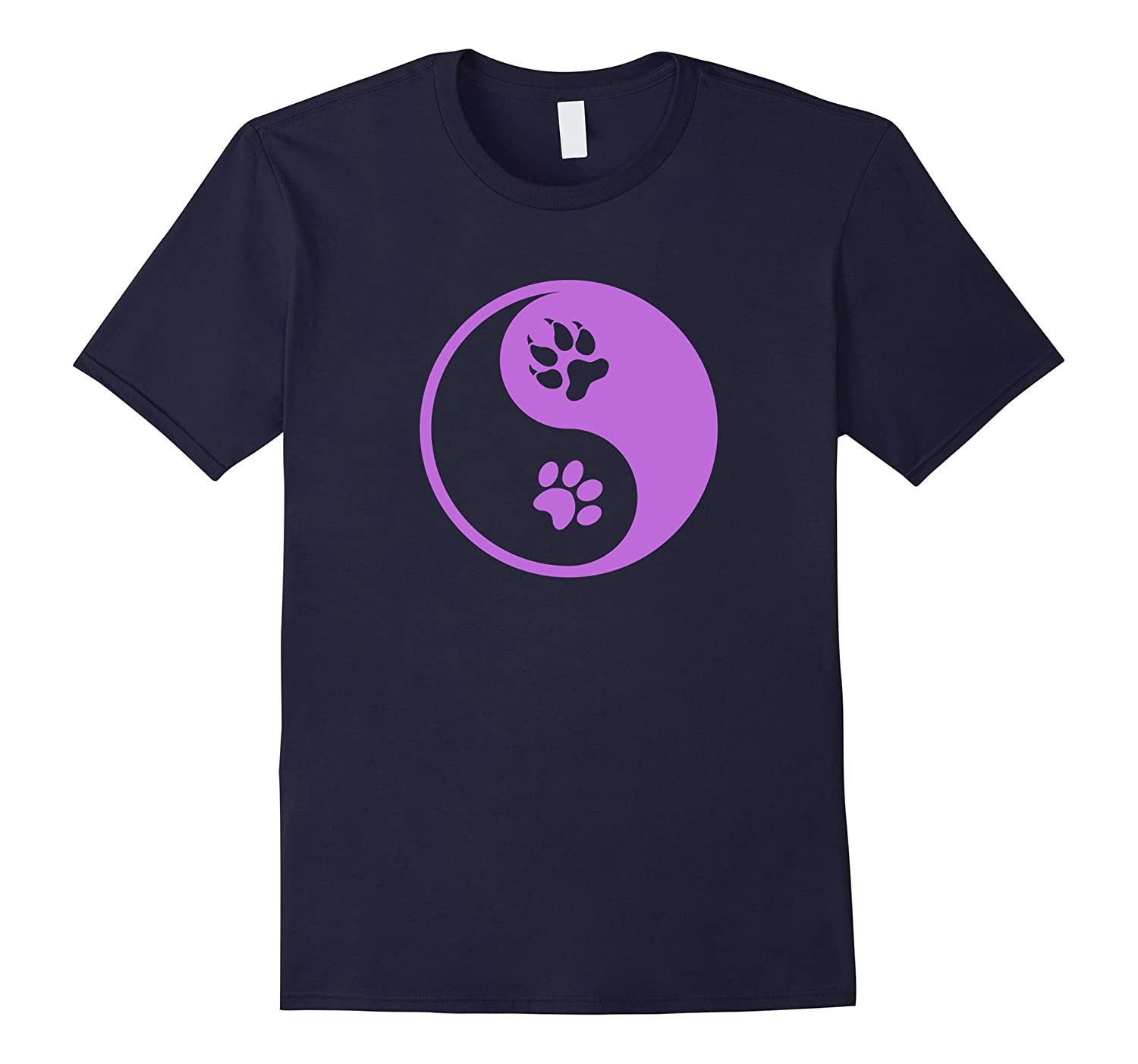 Cat and Dog Pawprint Yin and Yang Shirt for Animal Lovers-CL