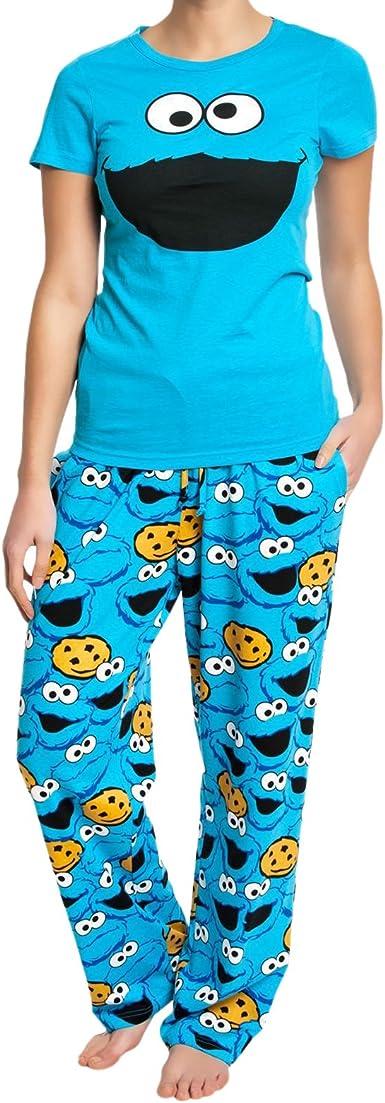 Nastrovje Potsdam Barrio Sesamo Monstruo de Las Galletas Pijama Azulón, , con cordón Corte Normal Suelto