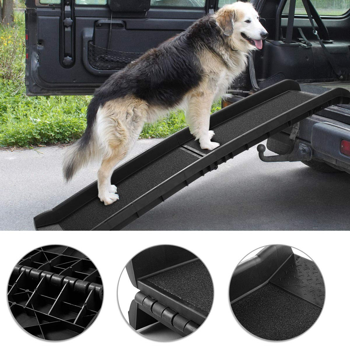 TOBBI 62 Bi-fold Portable Dog Ramp for Large Pet Folding Trunk Back Seat Ladder Step Car SUV 62
