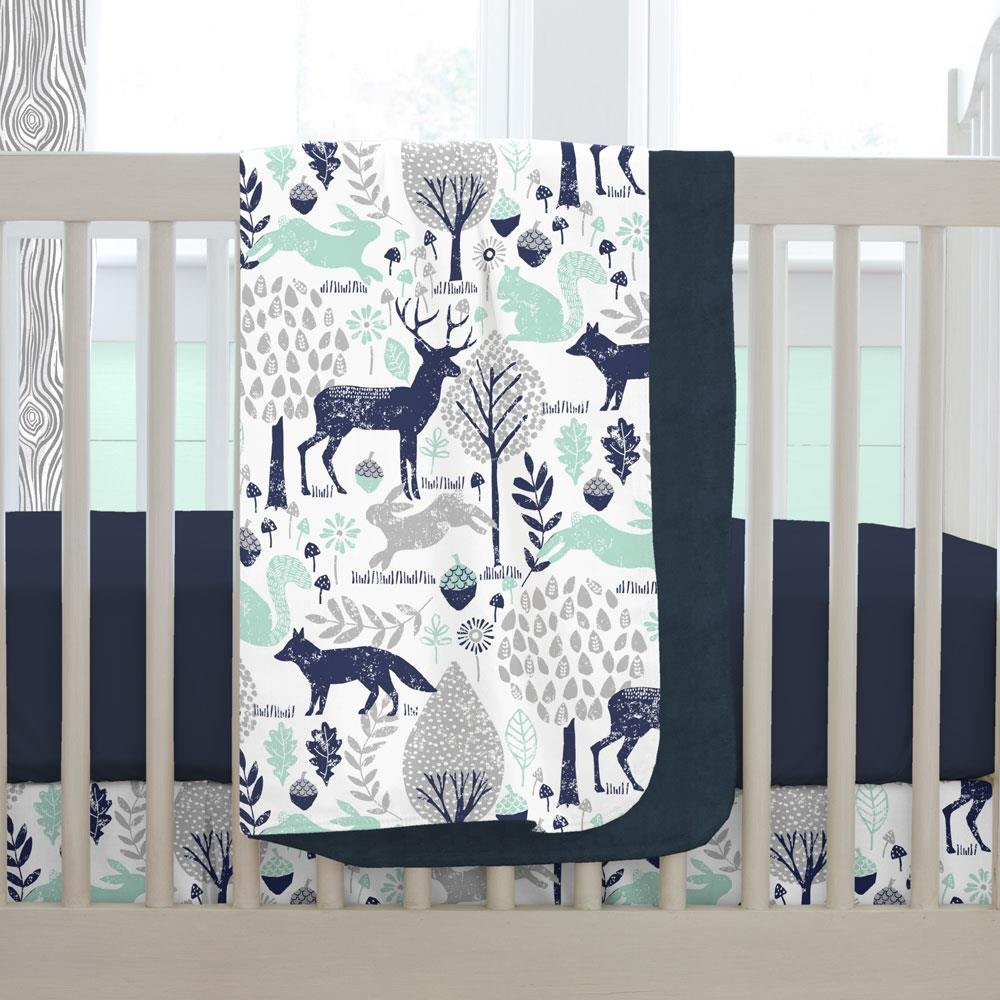 Carousel Designs Navy and Mint Woodlands Crib Blanket by Carousel Designs