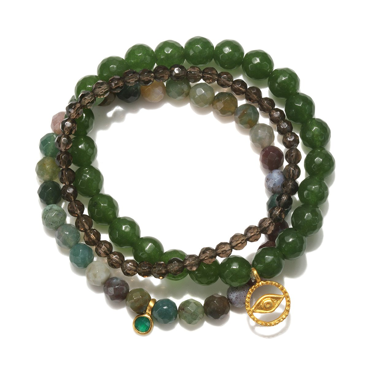 Satya Jewelry Jade, Fancy Jasper, Smokey Quartz Gold Plate Evil Eye Stretch Bracelet BG22-SET