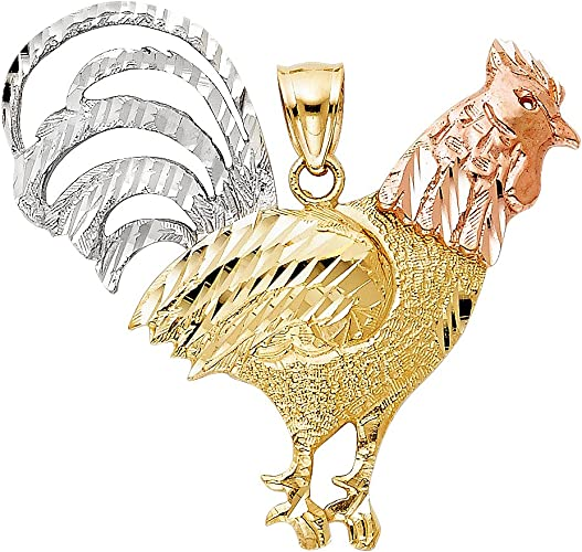 14K Tri Color Gold Rooster Charm Pendant For Necklace or Chain