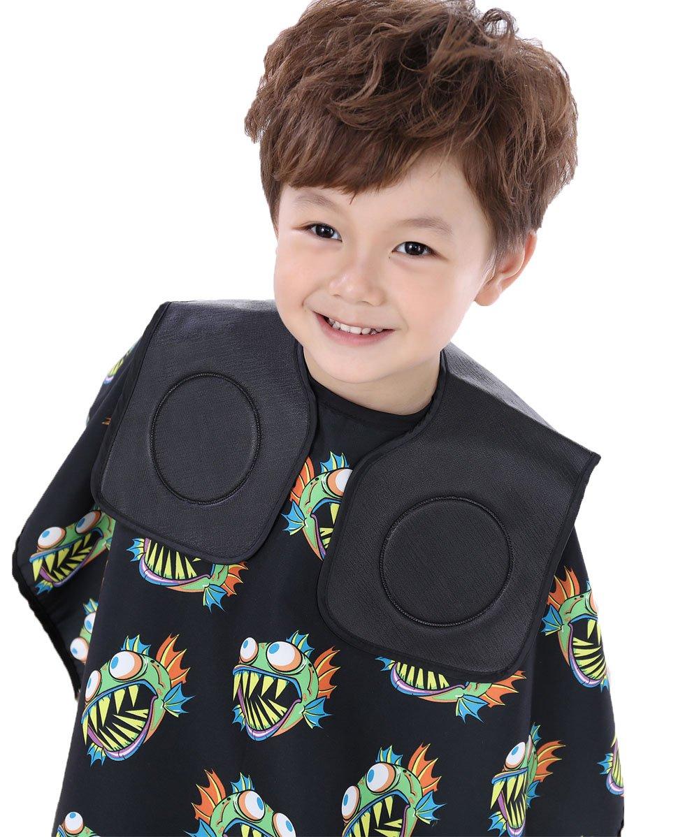 Col noir pour coiffeur, pour coupes enfants, couvre le cou, en PVC souple PJ002-1