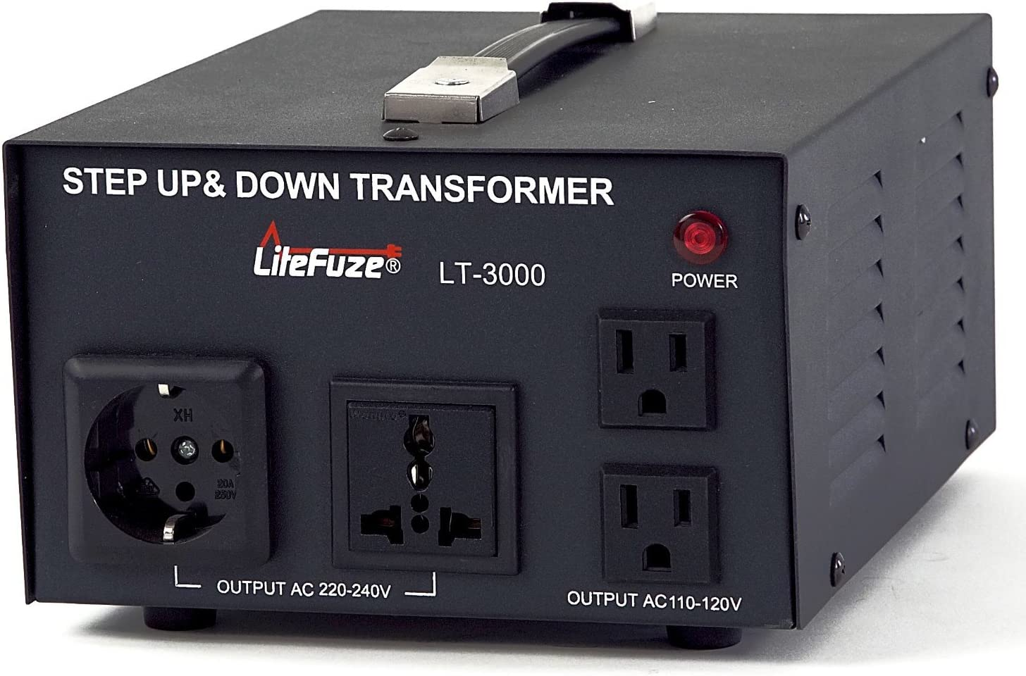 3000 Watt Voltage Converter Transformer by LiteFuze - Step Up/Down - 110V/220V - Circuit Breaker Protection -Heavy Duty/ - Convertingbox Technology - LT Series - Perfect for Coffee Maker