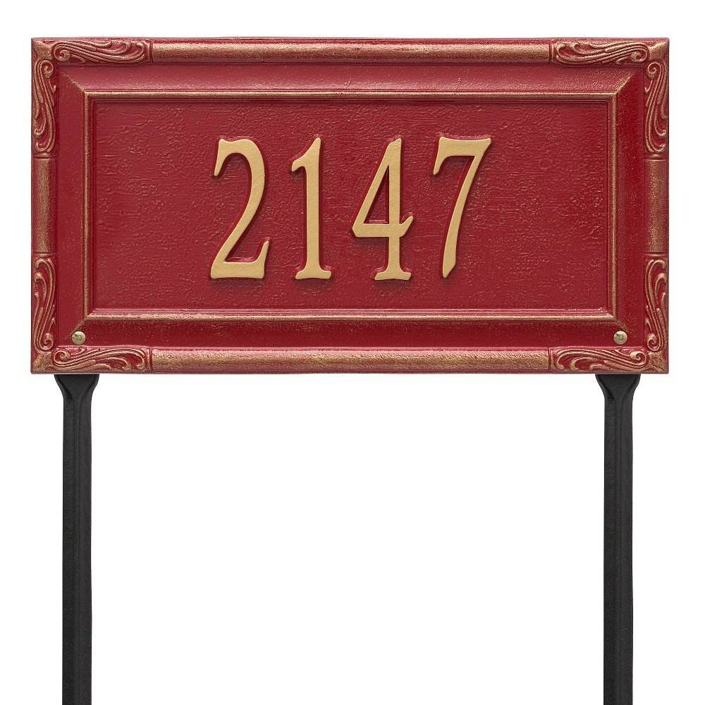 "Custom Grande Garden Gate LAWN Address Plaque 18""W x 10""H (1 Line)"