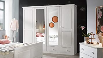 Kleiderschrank Landhausstil Genia Schrank Mit Spiegel Kiefer Massiv Weiß