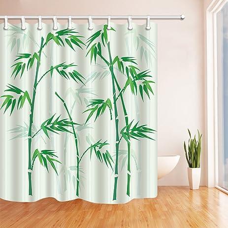 Amazon.com: KOTOM Zen Bamboo House Shower Curtains, Watercolor ...