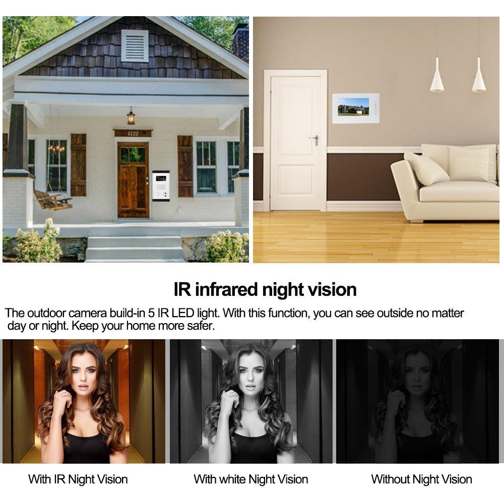 Control 2 Maison pour Multi Appartement//Familles LIBO 7 Pouces Syst/ème de t/él/éphone de Porte Sonnette vid/éo Filaire 2 moniteurs avec 1 cam/éra Vision Nocturne IR 800 x 480