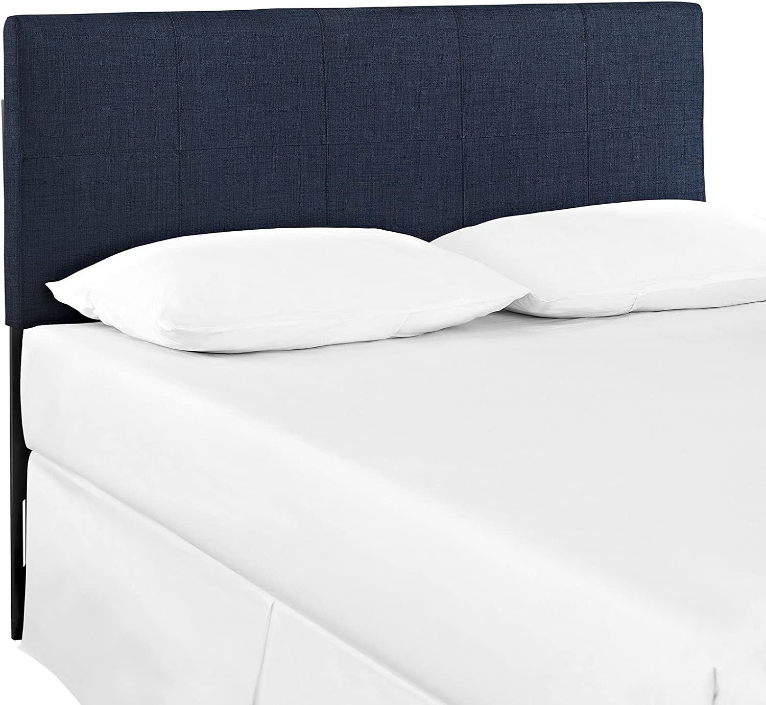 Modway Oliver Linen Fabric Upholstered Queen Headboard in Navy