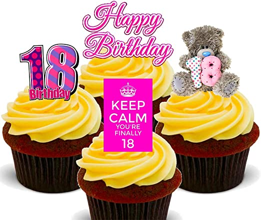 Enjoyable Made4You 18Th Birthday Girl Pink Edible Cupcake Toppers Stand Up Funny Birthday Cards Online Alyptdamsfinfo