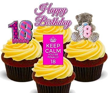 18 Geburtstag Madchen Essbare Cupcake Topper Stand Up Wafer
