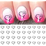 Spiral Heart Water Slide Nail Art Decals - Salon Quality - Great for Valentines Day!