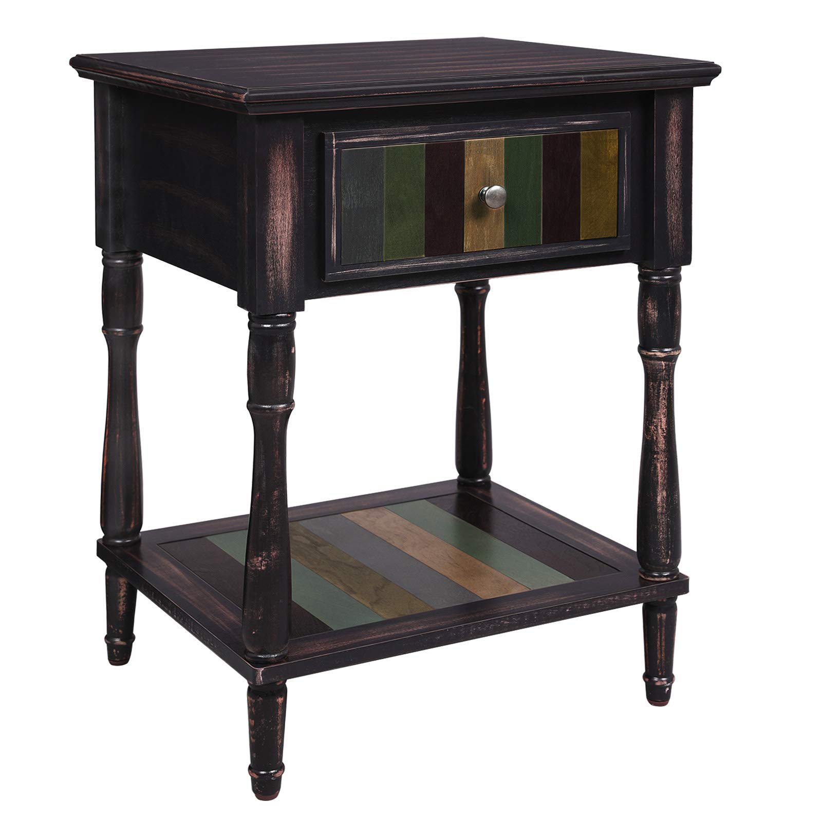 VASAGLE End Table with 1 Colorful Drawer, Bedside Table with Turned Wood Legs, 1 Storage Shelf, Assembly Without Tools, Nightstand for Bedroom, Country Brown ULET17GL by VASAGLE
