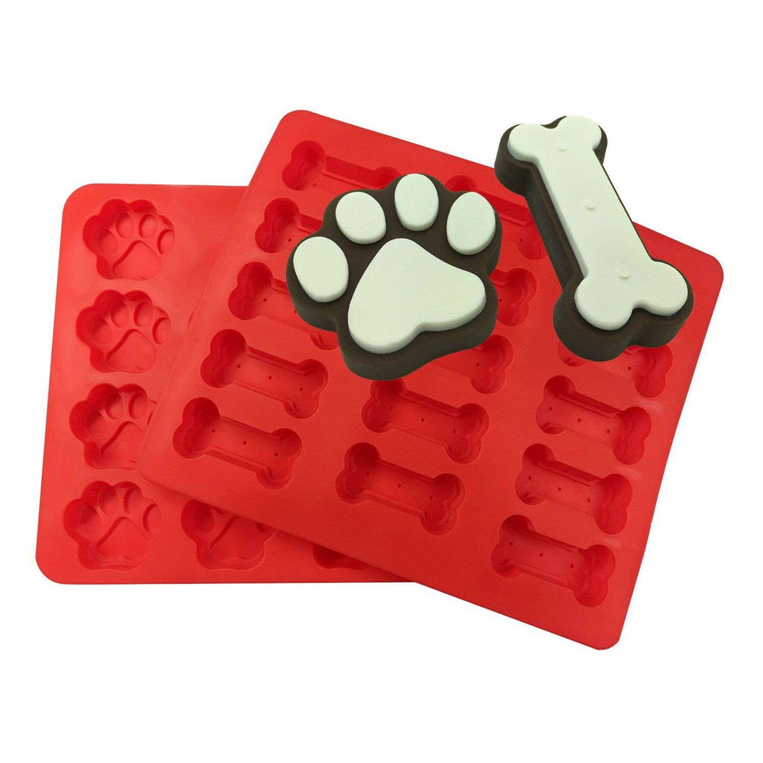 REXWAY 2 Pack Food Grade Dog Pet Bones & Paws Large Silicone Baking Molds, Homemade Dog Treats, Chocolates, Cakes, Cookies and Ice Cubes for Pets, Kids and Dog-lovers