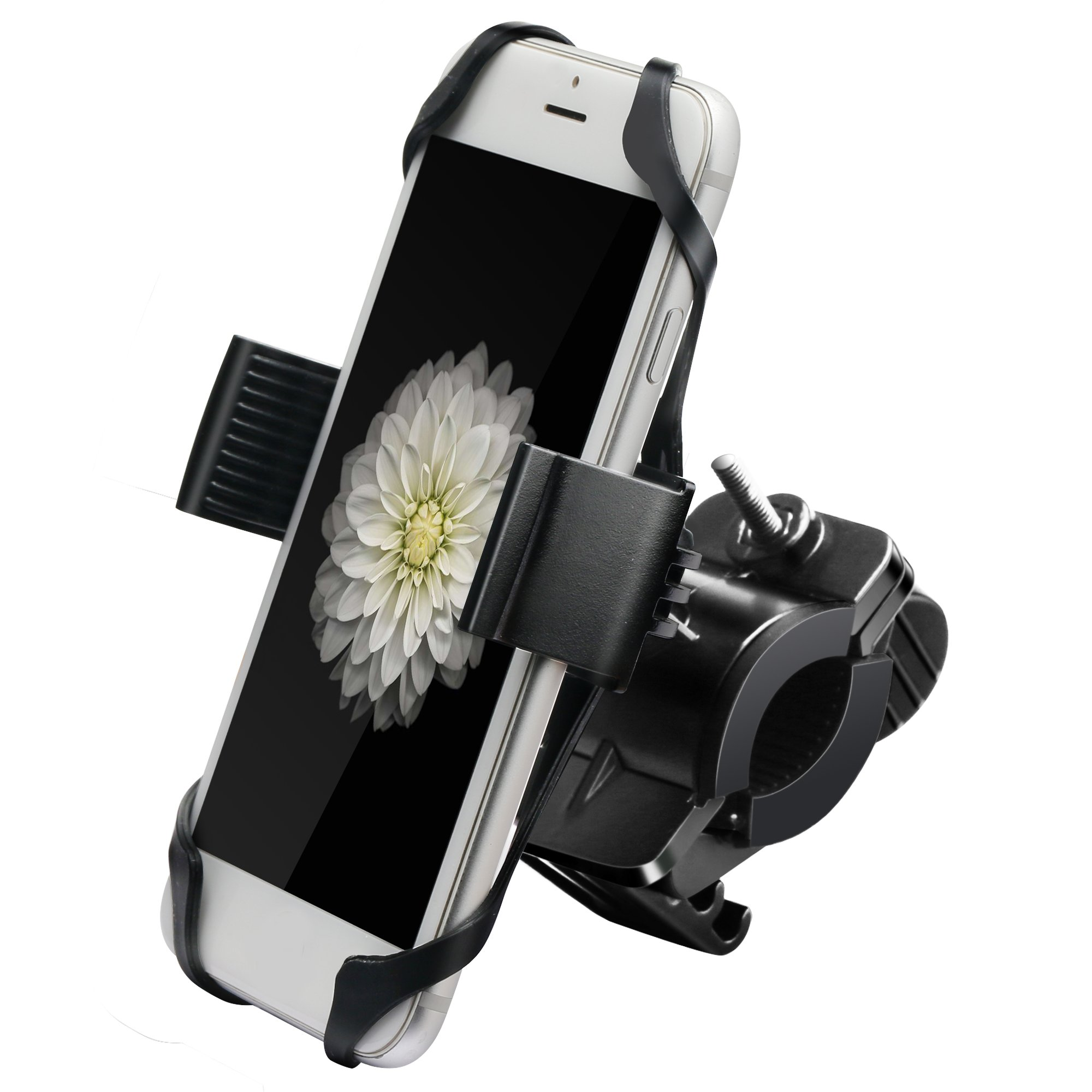 Ipow Metal Bike & Motorcycle Cell Phone Mount, with Unbreakable Metal Handlebar Holder For Bicycle, Motorbike, ATV. Fits iPhone, Samsung or Any Smartphone/GPS by IPOW