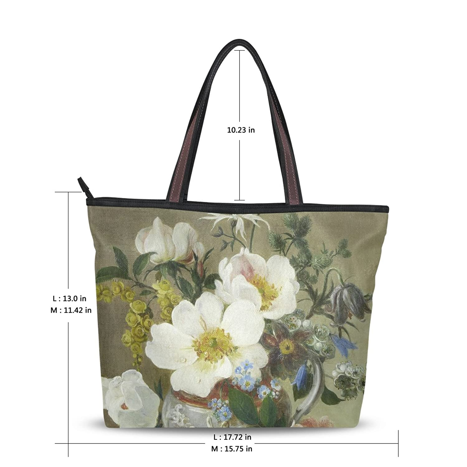 Yochoice Women's Shoulder Bags,Retro Vintage Art Floral Oil Painting,Tote Bag Design 194