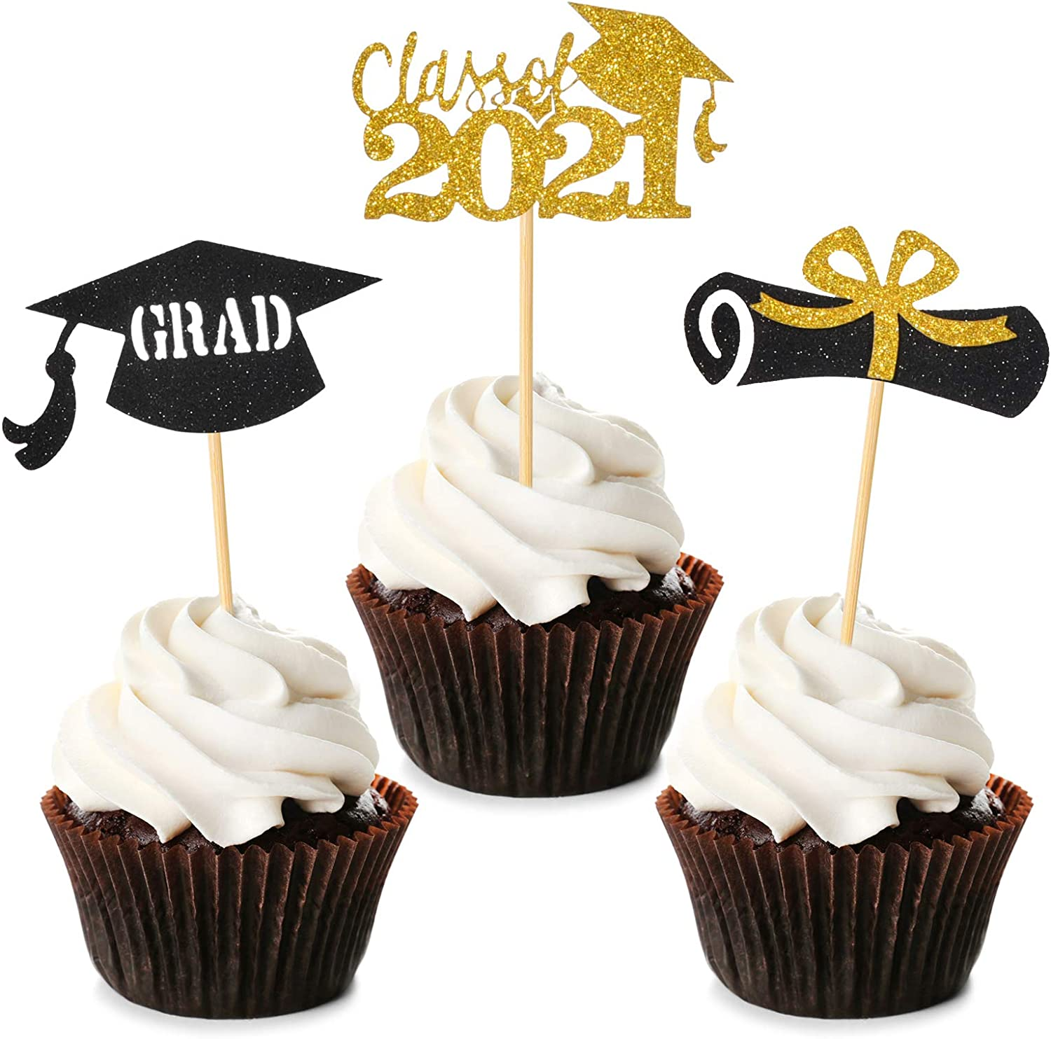Witgift 80PCS Graduation Cupcake Toppers, 2021 Food Picks For Graduation Party Mini Glitter Toppers Cake Decorations, Congrats Grad, Class of 2021