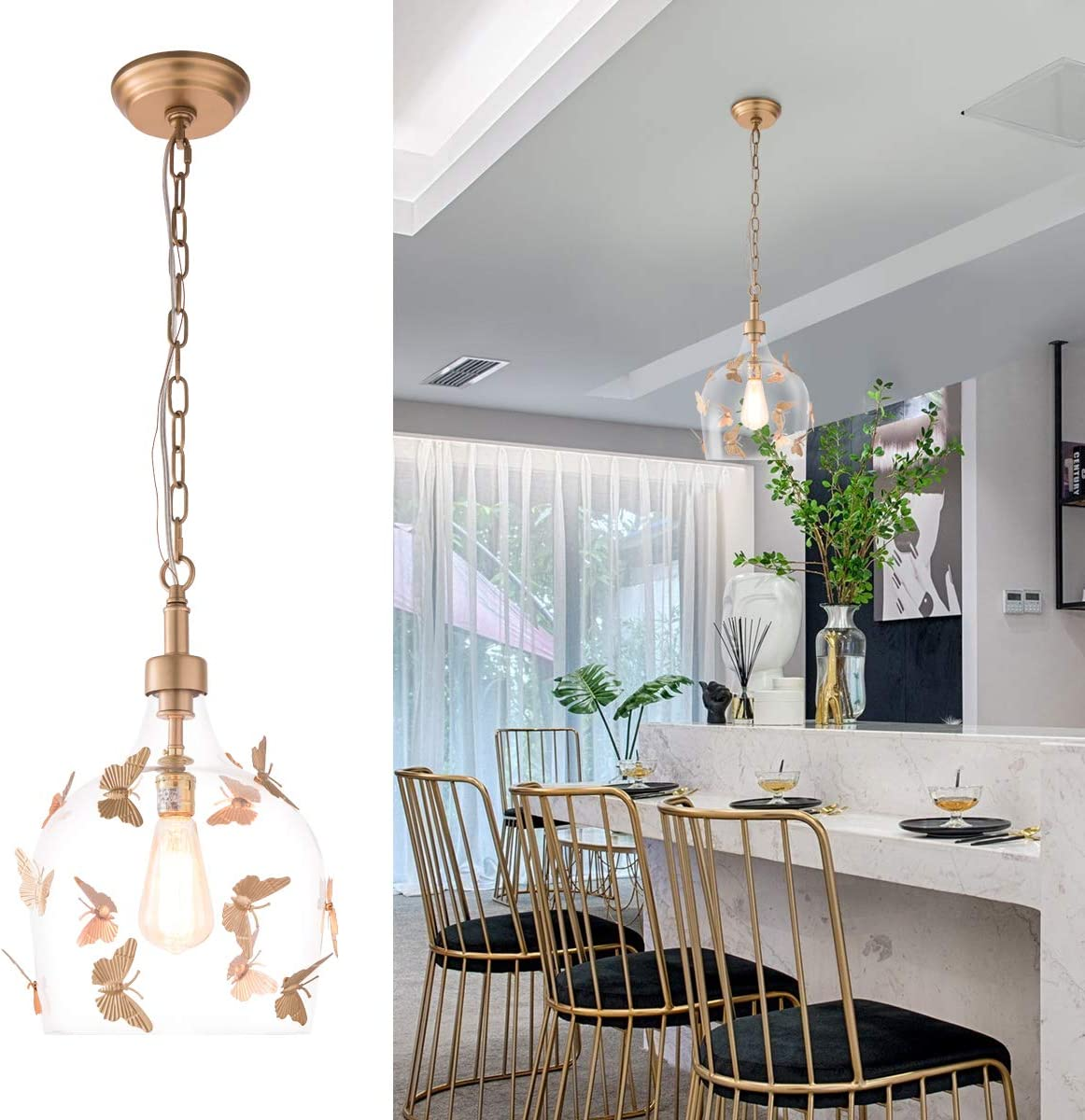 YIFI Foyer Pendant Lighting Butterfly Decorative Adjustable Hanging Pendant Light for Dining Room Kitchen Bedroom, Medium