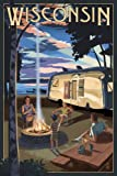 Wisconsin - Retro Camper and Lake (12x18 Art Print, Wall Decor Travel Poster)