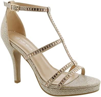 7e5850a081f7d TOP Moda Women's Ankle Strap High Heel Open Peep Toe Sandals