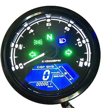 Kkmoon Multifunktionale Kilometerzähler Motorrad Lcd Meter Digital Geändert Meter Wasserdichte Tacho Monitor Tankanzeige Tachometer 2 4 Zylinder 1 6 Getriebe Einstellbar Baumarkt