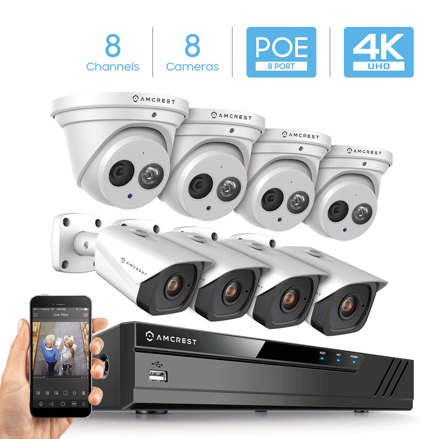 Amcrest 4K Security Camera System w 4K 8CH PoE NVR, 8 x 4K IP67 Weatherproof Metal Turret Dome Bullet POE IP Cameras, 2.8mm Lens, Hard Drive Not Included, NV4108E-T2499EW4-2496EW4 White