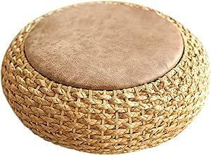 Rattan futon Cushion 17cm Thick Round Tea Ceremony Increased seat Cushion Tatami mat Living Room Furniture (Color : Beige, Size : 40cm)