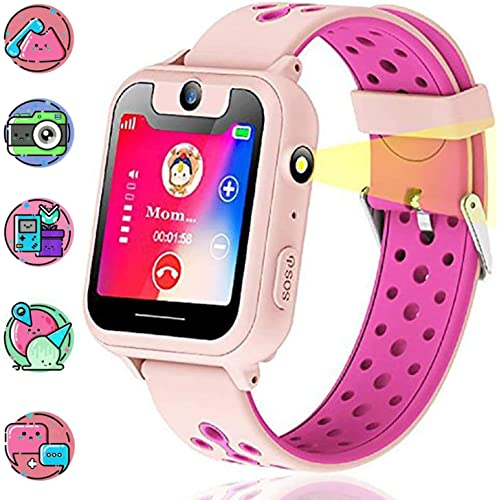 Themoemoe Kids Smartwatch, Kids GPS Tracker Watch Smart Watch Phone for Kids SOS Camera Game Compatible with 2G T-Mobile Pink