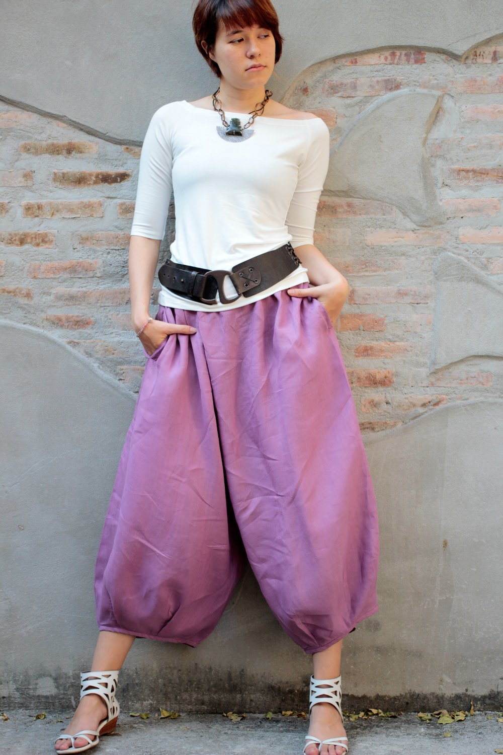 Capris length Linen 135A Pants Harem Pants/Summer Pants