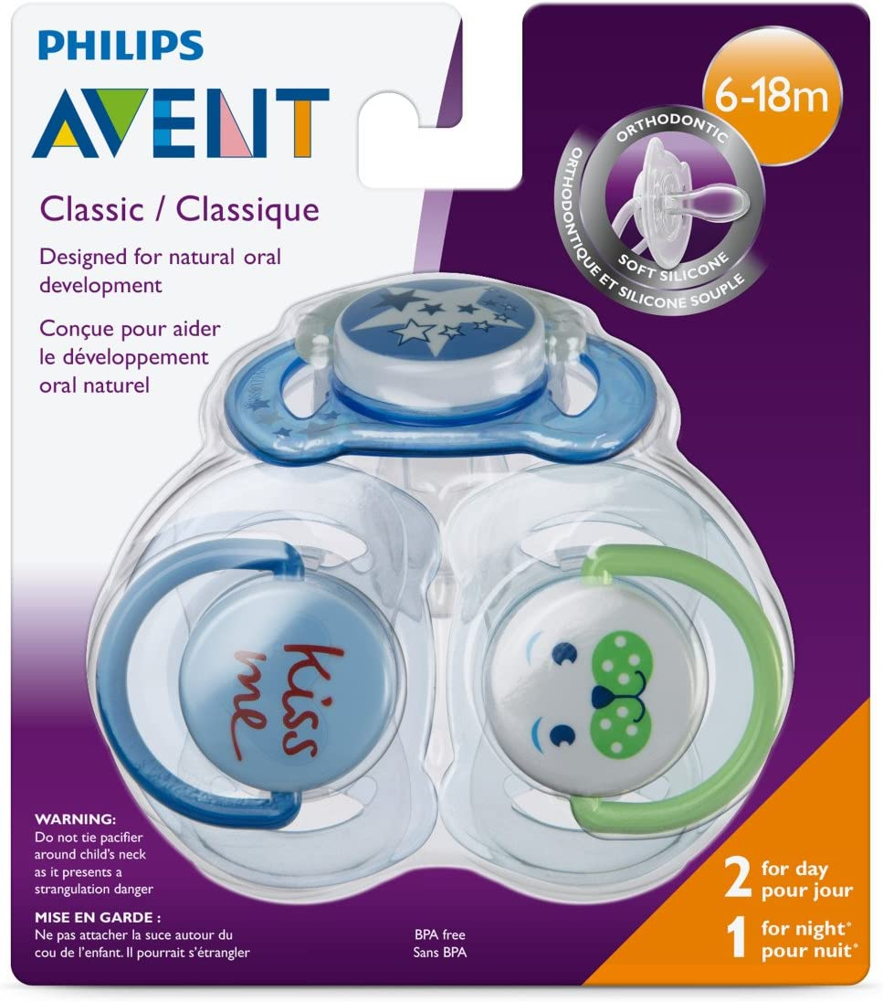 3 pack Philips Avent Classic Pacifiers 6-18m SCF134//31 Blue