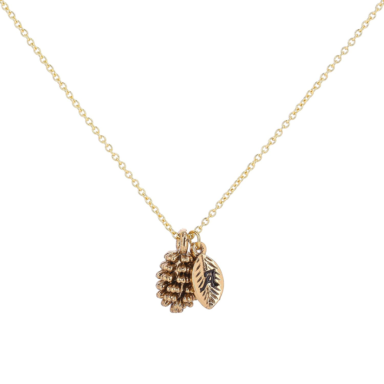 HolyFast Pinecone Necklace Letter Charm Initial Necklace Woman Jewelry Accessories Nuts Charm Leaf Charm