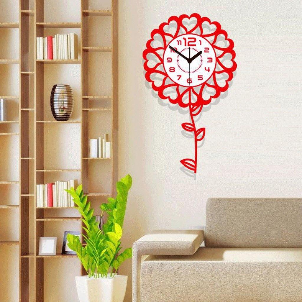 YYF Wanduhr Wanduhr Uhr Wohnzimmer Modernen Minimalistischen Uhr Kreative Mode Stille Kinderzimmer Sonnenblumen Quarzuhr ( Farbe : A )