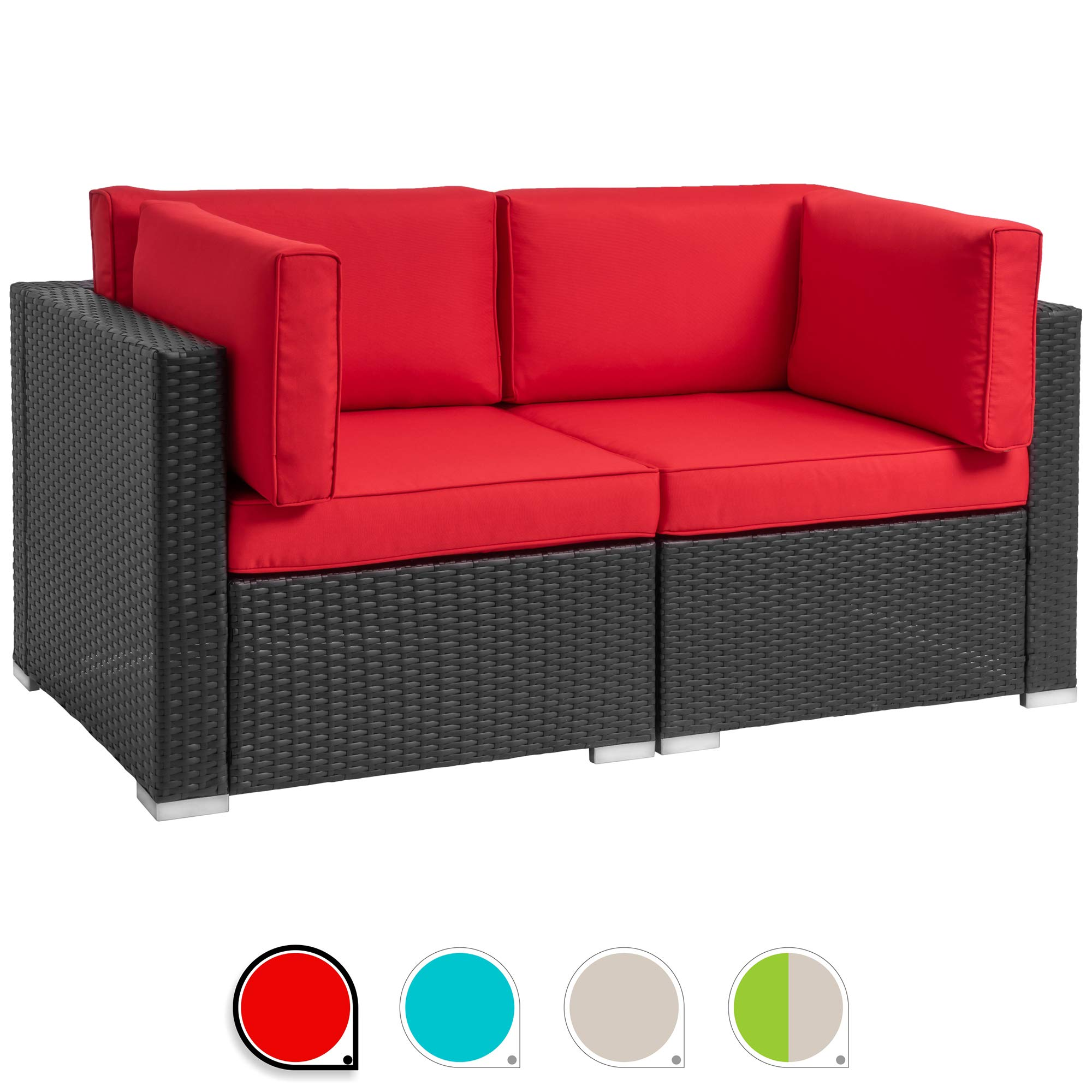 Walsunny 2pcs Patio Outdoor Furniture Sets,All-Weather Rattan Sectional Sofa with Washable Couch Cushions (Black Rattan) (Loveseats Red)