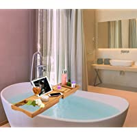 ipegtop Wood Luxury Bathtub Caddy Natural Bamboo Bath Tub Tray